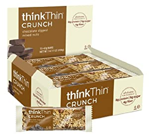 Crunch Bar- Chocolate Dipped Mixed Nuts- Box Think Thin 10 Bars 1 Box