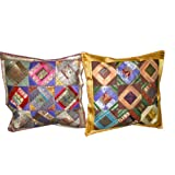 Gift For Her-2 Dark Chocolet Red Violet Pink Zari Borders Toss Pillow Cushion Coversby Mogulinterior