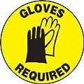 "Accuform Signs MFS203 Slip-Gard Adhesive Vinyl Round Floor Sign, Legend ""GLOVES REQUIRED"" with Graphic, 17"" Diameter, Black on Yellow"