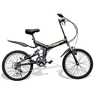 折りたたみ自転車 20インチ シマノ6段変速ギア フルサスペンション P-001 マウンテンバイク (ブラック)
