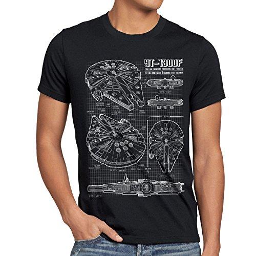 style3 Millennium Falcon T-shirt da uomo cianografia, Dimensione:M;Colore:Nero