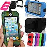 GLITZY GIZMOS ORANGE SURVIVOR MILITARY BUILDERS HEAVY DUTY SHOCK PROOF TOUGH CASE COVER AND BELT CLIP WITH BUILT IN SCREEN PROTECTOR FOR APPLE iPOD TOUCH 5 5G 5th GENERATION GEN