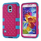 Galaxy S5 Case, AUMI Samsung Galaxy S5 Case Dual Layer High Impact Resistant Hybrid Shockproof Gel Rhinestone Bling Armor Defender Case for Galaxy S5 / Galaxy SV / Galaxy S V / Galaxy i9600