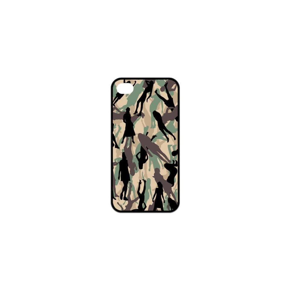 Unique pattern smart cool lady camouflage painting style, perfect smooth cutting, sense of fashion design (black edge) for iphone 4/4s case