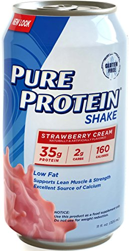 Pure Protein 35g Shake – Strawberry Cream, 11 ounce, 12 count