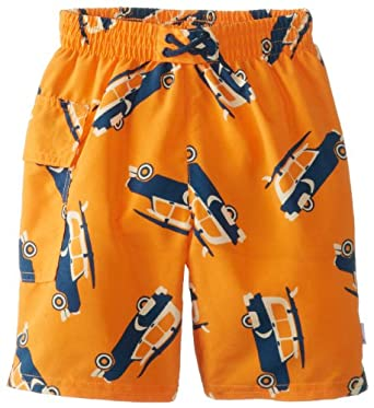 i play. Baby-Boys Infant Ultimate Swim Diaper Pocket Trunks, Orange Surf Car, Small/6 Months