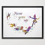 Dignovel Studios 8X10 Peter Pan Never grow up quote Watercolor Art Print Poster Home Decor Boys Girls Room Art Motivational Inspirational Gift Birthday Gift N325