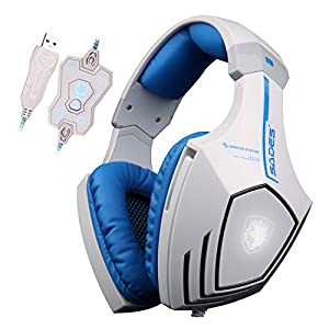 SADES A60 7.1 Surround Sound USB Gaming Headset Over-ear Headphones with Mic Bass, Vibration, Noise-Canceling, Volume Control,LED Light for PC Gamer (White-blue)