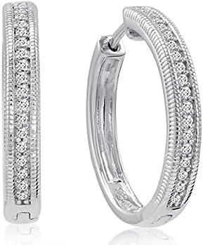 Amanda Rose 1/4ct tw Diamond Hoop Earrings Set