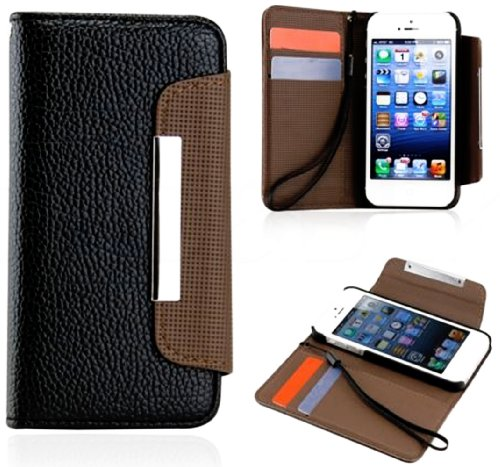 Mylife (Tm) Black And Brown Business Design - Textured Koskin Faux Leather (Card And Id Holder + Magnetic Detachable Closing) Slim Wallet For Iphone 5/5S (5G) 5Th Generation Smartphone By Apple (External Rugged Synthetic Leather With Magnetic Clip + Inter