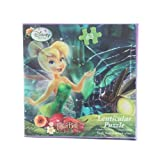 "63pc Disney Tinkerbell Fairies Night Time Pond Scene 3D Lenticular Jigsaw Puzzle - 12"" x 9"" by Disney"