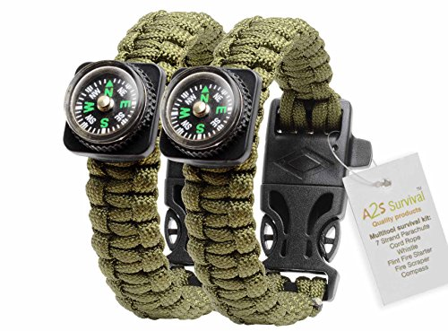 1-BEST-Value-For-Money-A2S-Survival-Kit-Paracord-Bracelet-Set-of-2-with-Compass-Flint-Fire-Starter-Stainless-Fire-Scraper-Emergency-Whistle