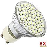 8 Pack GU10 LED Light Bulbs Cool White Lamps 3W Enviromental Friendly Bulbs 48 SMD Light Bulbs