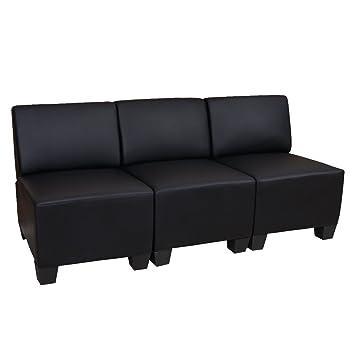 Modular 3-Sitzer Sofa Couch Lyon, Kunstleder ~ schwarz, ohne Armlehnen
