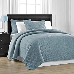 Zaria Quilted Coverlet Set With Stitched Pattern - 3 Pieces - Full/Queen, Spa Blue