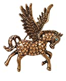 Retro Bronze Flying Pegasus Horse Brooch Pin Badge with Sparkly Crystals (Organza Gift Pouch Included).