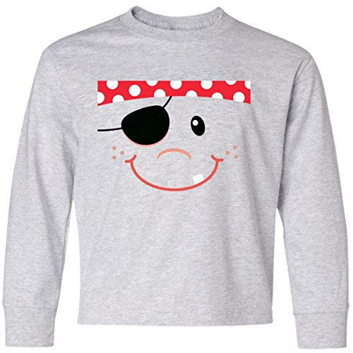 Inktastic Big Boys' Funny Pirate Face Costume Idea Youth Long Sleeve T-Shirt