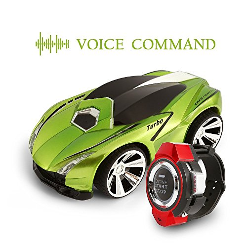 SainSmart Jr. VC-01 Voice Command Car, Rechargeable Radio Control by Smart Watch, Creative Voice-activated RC Car, Dazzling Headlights and Cool Brakes, Green (Discontinued by manufacturer)