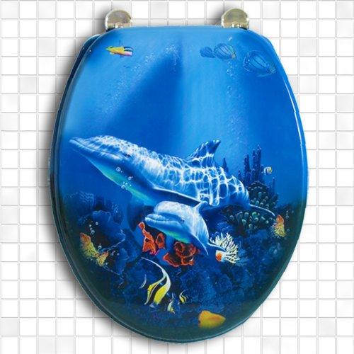Carpemodo WC Sitz WC Deckel Klodeckel MDF robustem Holzkern Antibakteriell Scharniere verchromt Größe 43x36 cm Farbe Blau Design Unterwasser Delfine
