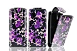FOR NOKIA ASHA 300 MAGNETIC TOP FLIP LEATHER COVER CASE POUCH - PERFECT FIT (PURPLE BUTTERLY)