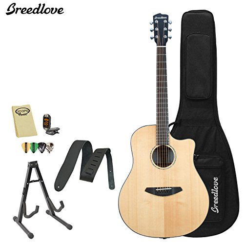 Breedlove Solo Dreadnought Acoustic Electric Guitar With Chromacast Strap, Stand, Picks, Tuner, Godpsmusic Polish Cloth, And Breedlove Deluxe Foam Shell Case