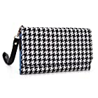 Black and White Houndstooth Wristlet Wallet with Detachable Strap and Credit Card Holder fit Nokia X2 Dual SIM