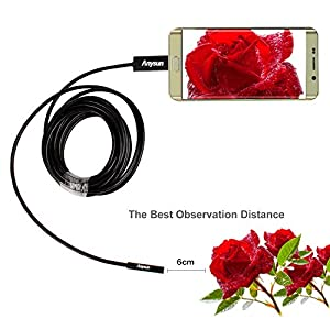 Anysun USB Endoscope Borescope with 2.0 Megapixel, 6 LED 9mm Flexible OTG Waterproof Digital Inspection Camera (3.5m/11.48ft Cable)  Works with Android Smartphone and PC.