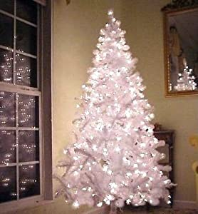 White Pre-Lit Artificial Christmas Tree: 6.5 Foot, with 750 Tips & 500 Clear Lights [Energy Efficient] [Free Holiday Music CD Included, & Free 2-Year Extended Warranty]