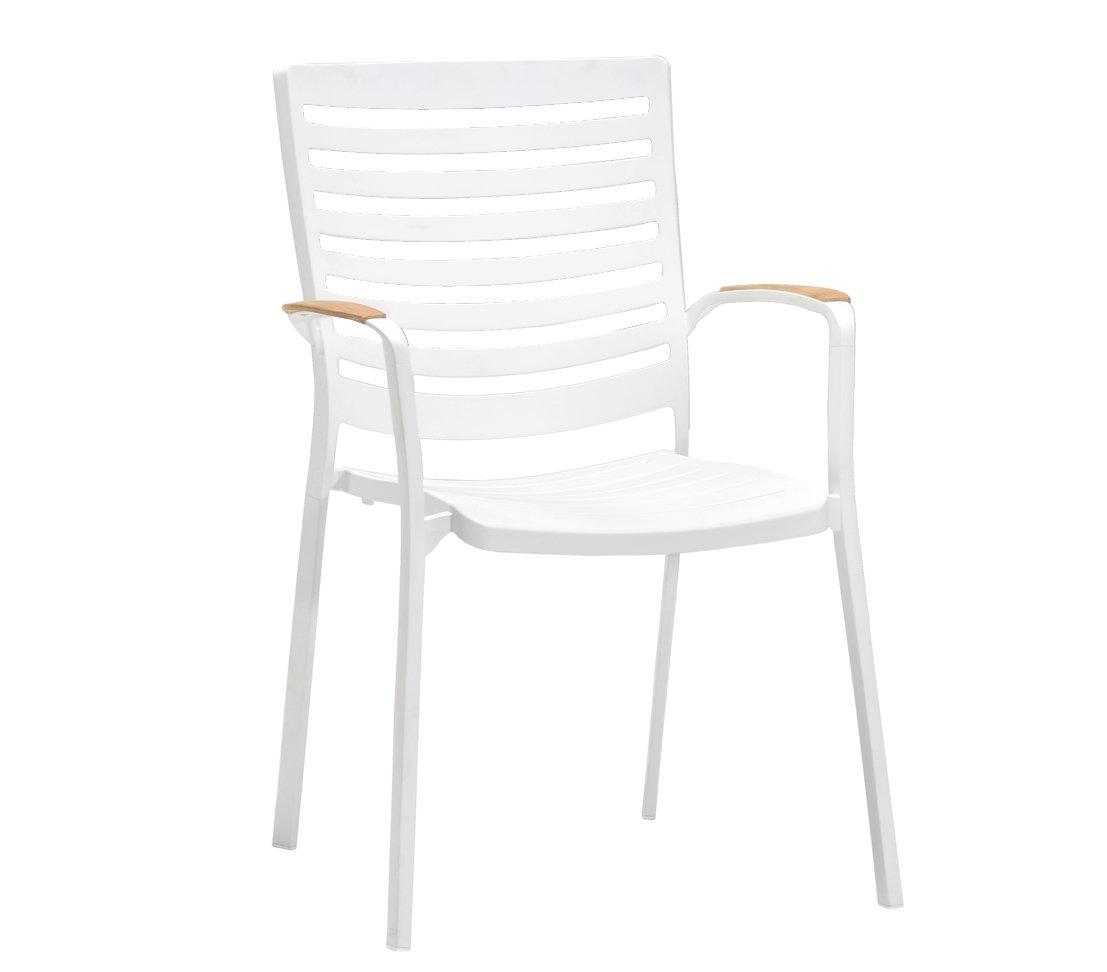 Dehner Stapelstuhl Bergen, ca. 89 x 62 x 63.5 cm, Aluminium-Guss, FSC Teakholz, weiß günstig bestellen