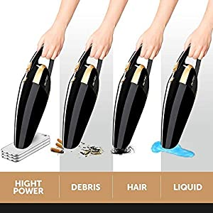 Car Vacuum Cleaner High Power 120W - Corded Portable Handheld Auto Vacuum Cleaner Powered by 12V Outlet of Car - Long Power Cord 16.4FT(5M) - 2 HEPA Filters - Carrying Bag - Black (Color: Black, Tamaño: Power 120W)