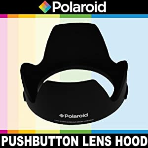 "Polaroid Studio Series Lens Hood With Exclusive Pushbutton Mounting System - no more 'screwing around"" With Old Fashioned Threaded Hoods For The Canon Digital EOS Rebel SL1 (100D), T5I (700D), T5 (1200D), T4i (650D), T3 (1100D), T3i (600D), T1i (500D), T2i (550D), XSI (450D), XS (1000D), XTI (400D), XT (350D), 1D C, 70D, 60D, 60Da, 50D, 40D, 30D, 20D, 10D, 5D, 1D X, 1D, 5D Mark 2, 5D Mark 3, 7D, 6D Digital SLR Cameras Which Has Any Of These (60mm, 50mm 1.8) Canon Lenses"