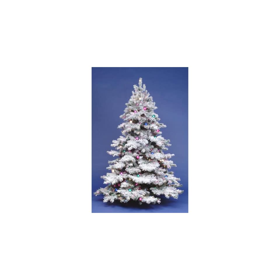 7.5 ft. Flocked Alaskan Full Pre lit Christmas Tree