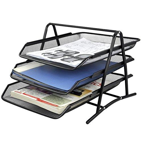 3 tier steel mesh office desk tray 11 5 8w x 13 3 4d x 10 5 8h filing trays holder black. Black Bedroom Furniture Sets. Home Design Ideas