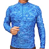 Aquawear Long Sleeve UV Sun Protection Loose Fit Rash Guard Swim Shirt 1/4 Zip Mock Turtleneck Water Print Rashie Pullover