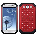 MYBAT ASAMSIIIHPCTDEF203NP Total Defense Dazzling Lattice Design Case for Samsung Galaxy SIII - 1 Pack - Retail Packaging - Red/Black