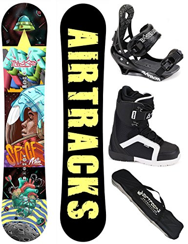 AIRTRACKS SNOWBOARD SET / SPACEMAN CARBON SNOWBOARD WIDE ROCKER + SOFTBINDUNG SAVAGE + SOFTBOOTS + SB BAG / 152 157 / cm