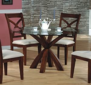 Contemporary Style Dark Cherry Finish Wood Round Dining Table