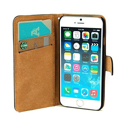 iphone 6 4.7インチ レザーケース カバー 手帳型 カードケース機能    ストラップホール 保護フィルム付き