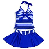 Deer Mum Kid Girl Stripe 2 Pcs/swimsuits Two-pieces Swimwear (10, Blue) thumbnail