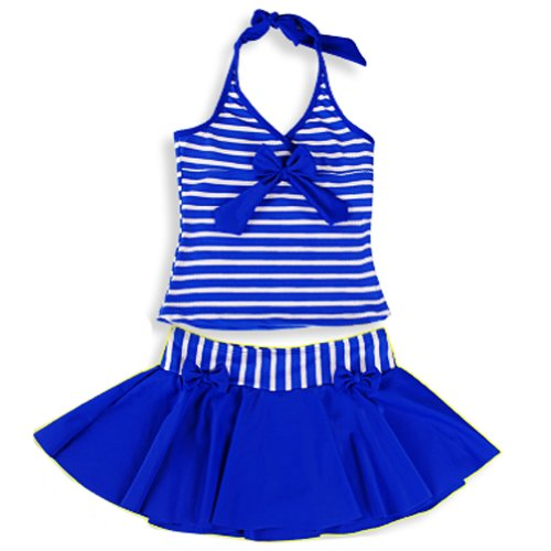 Deer Mum Kid Girl Stripe 2 Pcs/swimsuits Two-pieces Swimwear (10, Blue) image