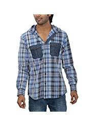 Inego Men's Casual Shirt (Blue White )