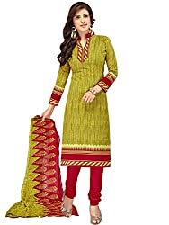 Kanchnar Women's Green and Red Mix Cotton Printed Casual Wear Dress Material,Diwali Great Indian Festival sale Traditional Clothing for Girls,Navratri Special Collection,Gift to Wife,Mom