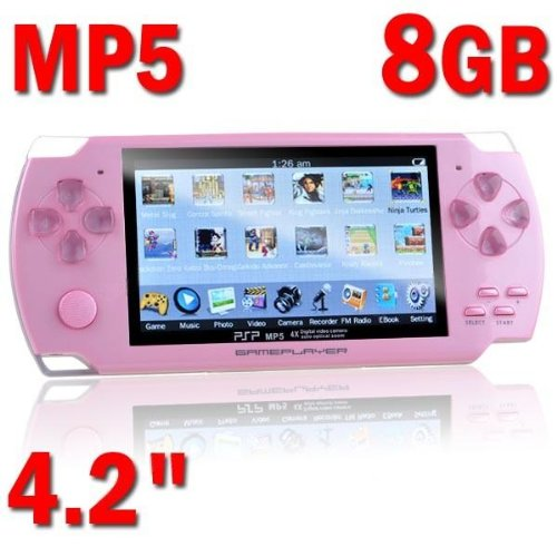 "4.2"" Tft Lcd 8Gb Mp5 Music Video Player / Game Console With Fm Recorder Calendar Photo E-Book Tv-Out Pink"