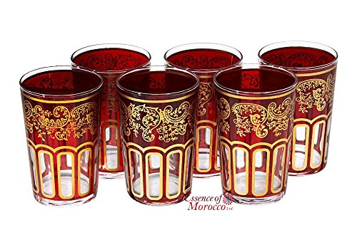 Verres à Thé Marocain Rouge Peints et Décorés à la main Design Classique Lot de 6 verres