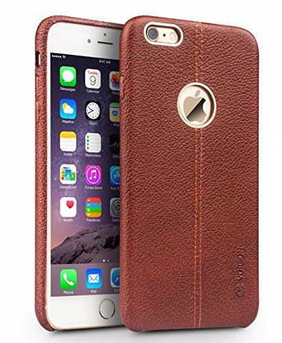 Vorson--ecom324-Lexza-Series-Double-Stitch-Leather-Shell-with-Metallic-Logo-Display-Back-Cover-For-Apple-iPhone-6-6S-Brown
