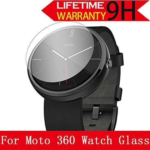Moto 360 Watch Glass Screen Protector, AnoKe [Lifetime Warranty](0.3mm 9H 2.5D) Best Tempered Glass Screen Protector Film Shield Guard For Motorola Moto 360 Watch Glass