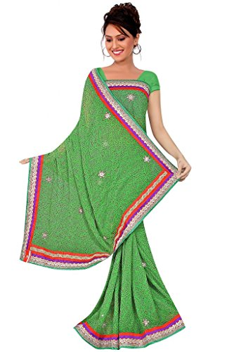 Kala Sanskruti Chiffon And Art Silk Bandhej Design Saree With Work - B00L18Q5IQ