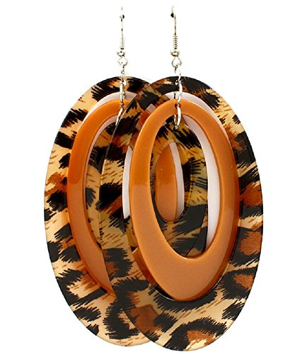 Animal Print Leopard Oversized Oval Plates Dangle Earrings