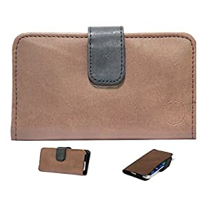 Jo Jo A8 Nillofer Leather Carry Case Cover Pouch Wallet Case For Micromax Canvas Nitro 2 E311 Brown Black