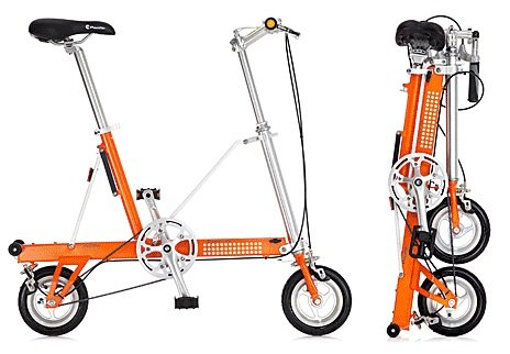 CarryMe USA SD-T Tangerine Bike Single Speed Portable Folding Pedal Bicycle